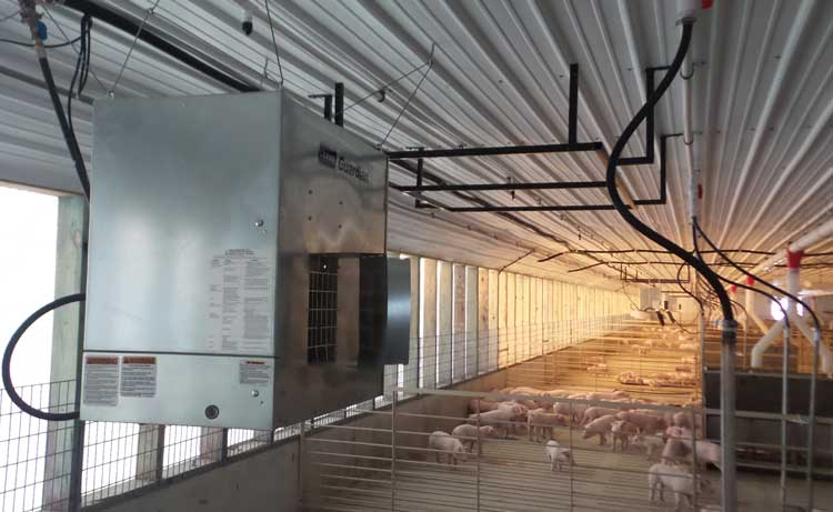 Guardian forced air heaters in a swine wean to finish facility.