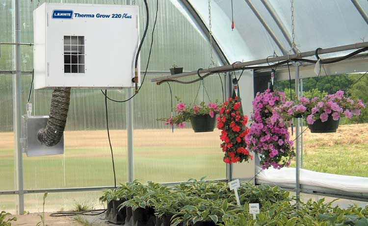 Therma Grow forced air heater inside a greenhouse facility.