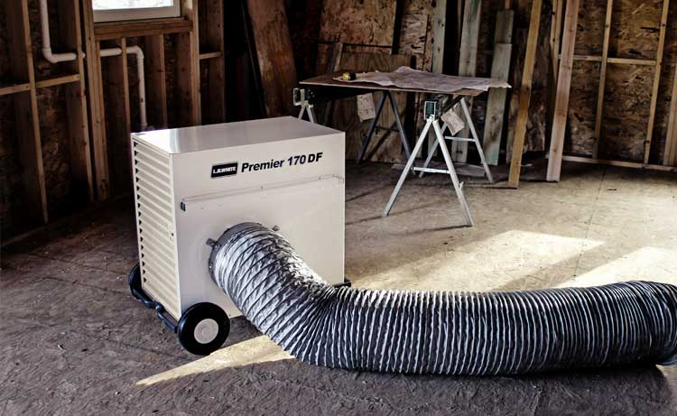 Premier portable heater at a construction site.