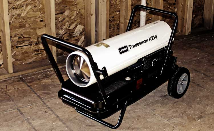 Tradesman K portable forced air kerosene heater at a construction site.