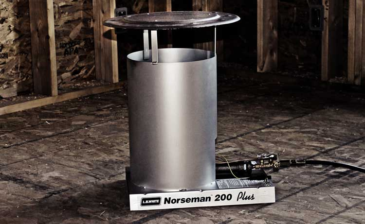 Norseman convection heater at a construction site.