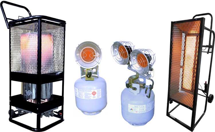 L.B. White Sun Blast (LP and NG) Portable Radiant Gas Heaters for Industrial and Construction Sites