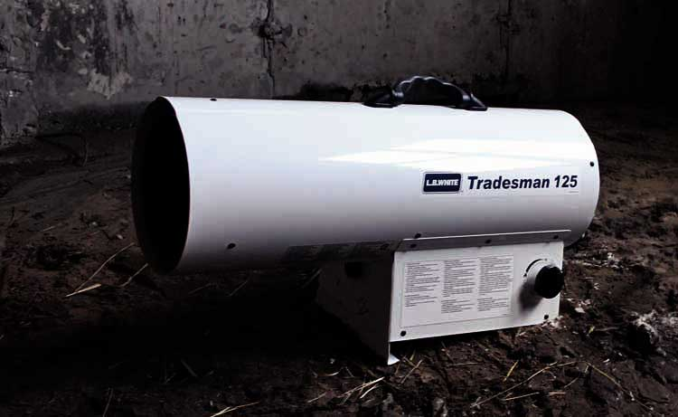 Tradesman portable forced air heater heating a residential construction site.
