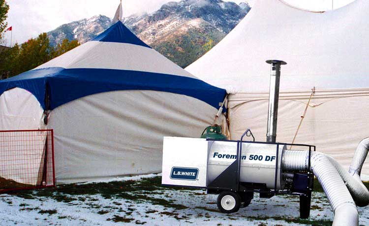The Foreman heating event tents.